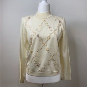 Alfred Dunner embroidered sequined sweater